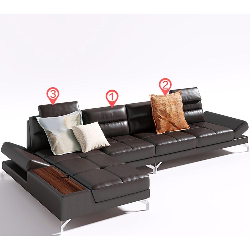 林氏木業北歐頭層牛皮調節扶手右L四人皮沙發(附抱枕)RBI1K-深棕色