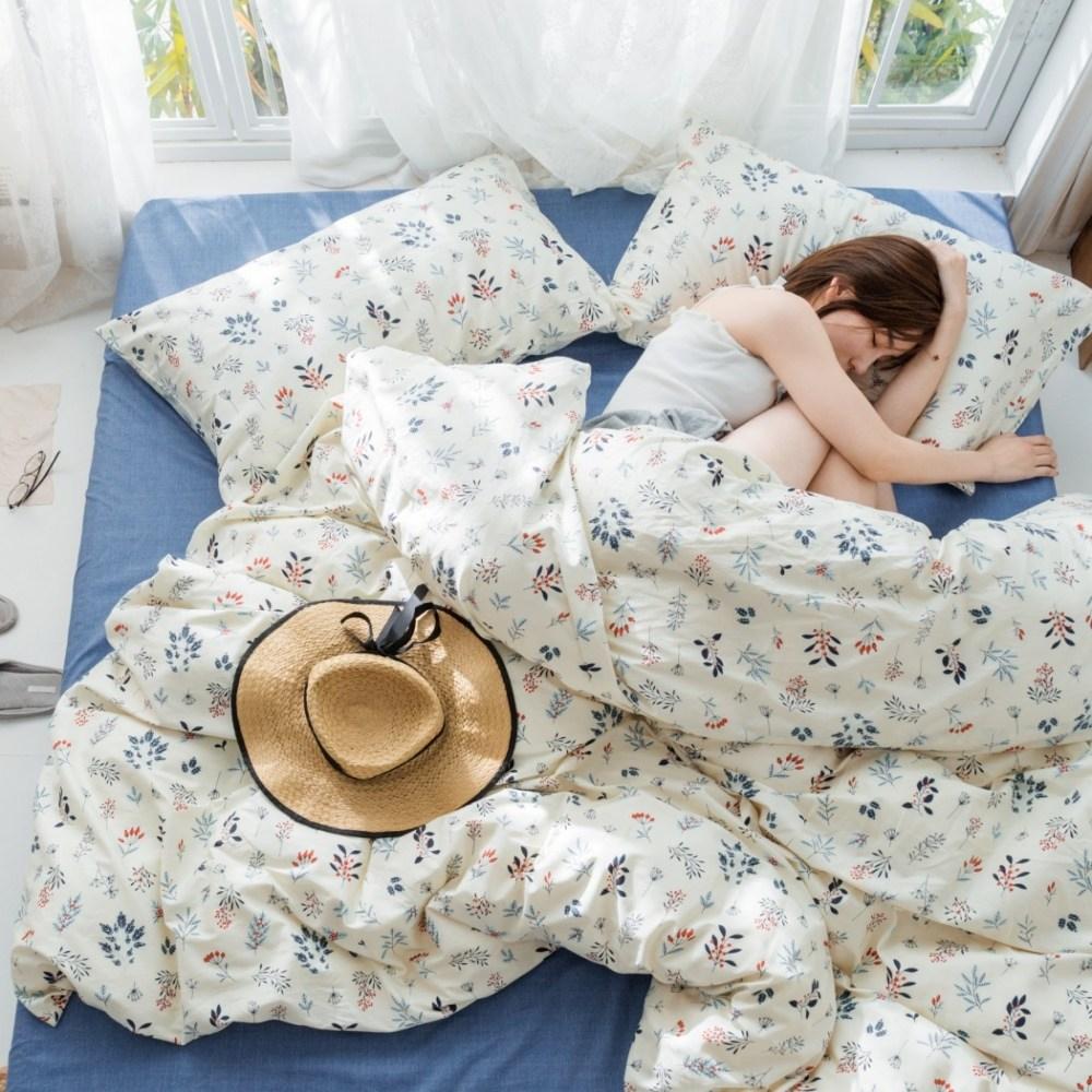 【eyah】台灣製200織精梳棉雙人床包被套四件組-當時的綻放