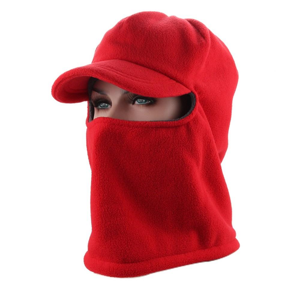 PUSH!戶外休閒用品抓絨防風帽加絨加厚紅色H28-1紅色