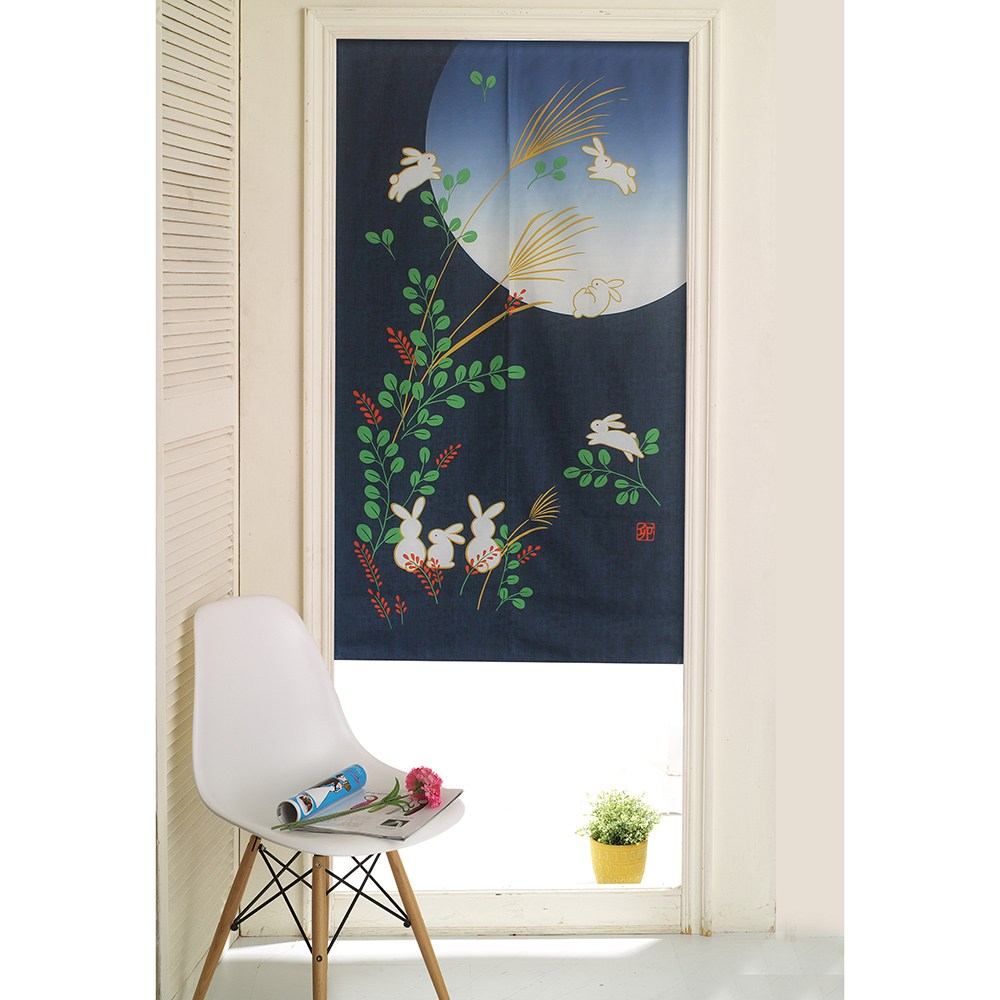 【三房兩廳】日式門簾-月下的兔子家族-85x150cm