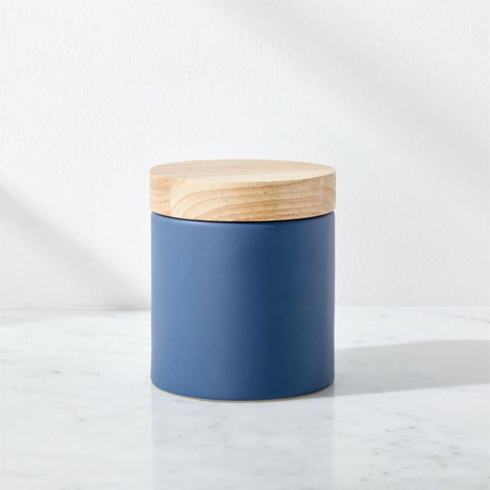 Crate&Barrel Niko 陶瓷製物罐 藍 (M)