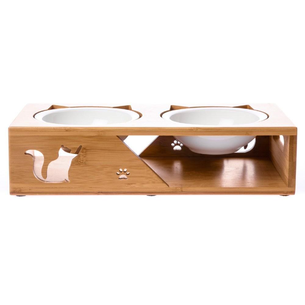 愛寵 竹藝寵物餐桌 附瓷碗及不鏽鋼碗