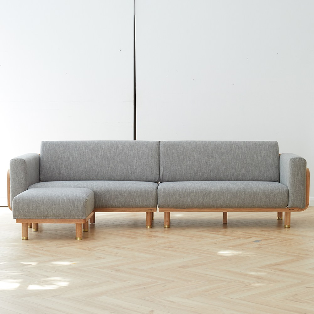 源氏木語西雅圖橡木四人布沙發+腳凳 Y90H02-淺灰色