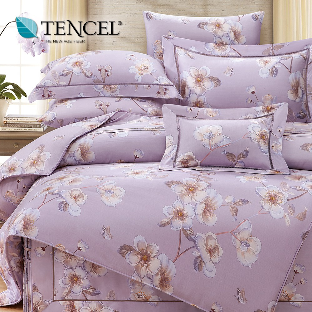 【貝兒居家寢飾生活館】裸睡系列60支天絲床罩七件組(雙人/亞曼朵紫)