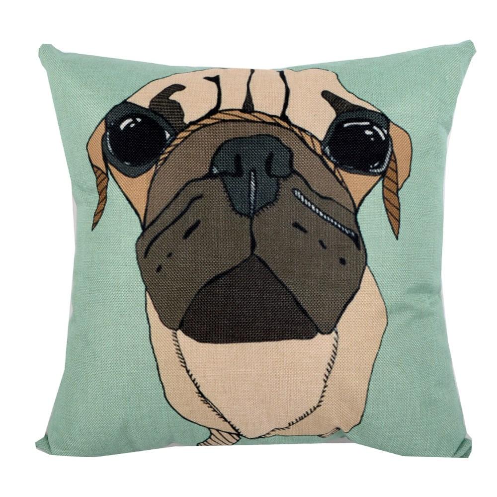 動物家族 棉麻舒適方型抱枕.靠枕_果綠巴戈