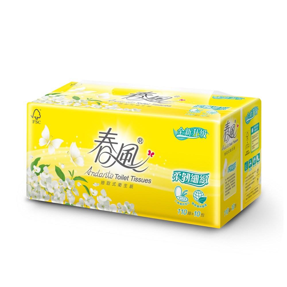 【春風】抽取式衛生紙-柔韌細緻 110抽x10包x6串/箱110抽x10包x6串/箱