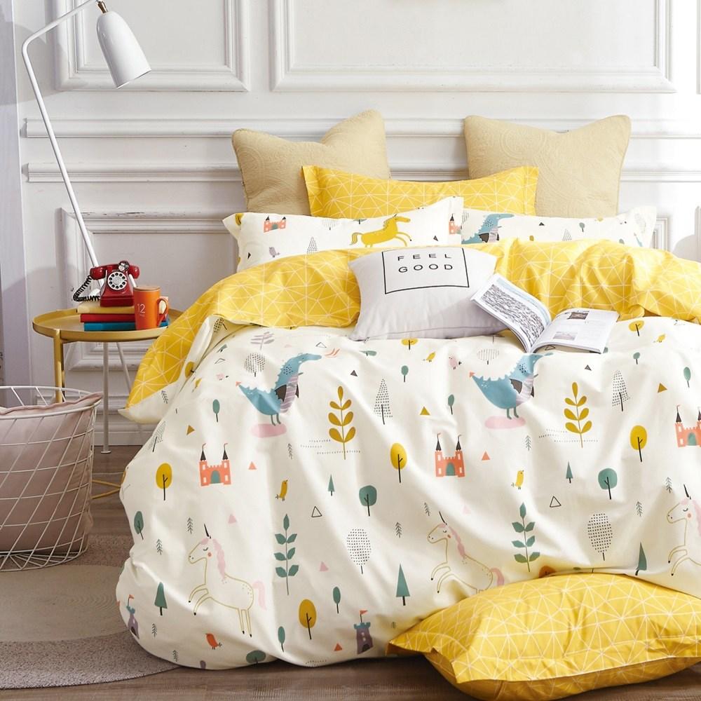 【eyah】台灣製200織紗天然純棉雙人床包枕套3件組-獨角獸與恐龍