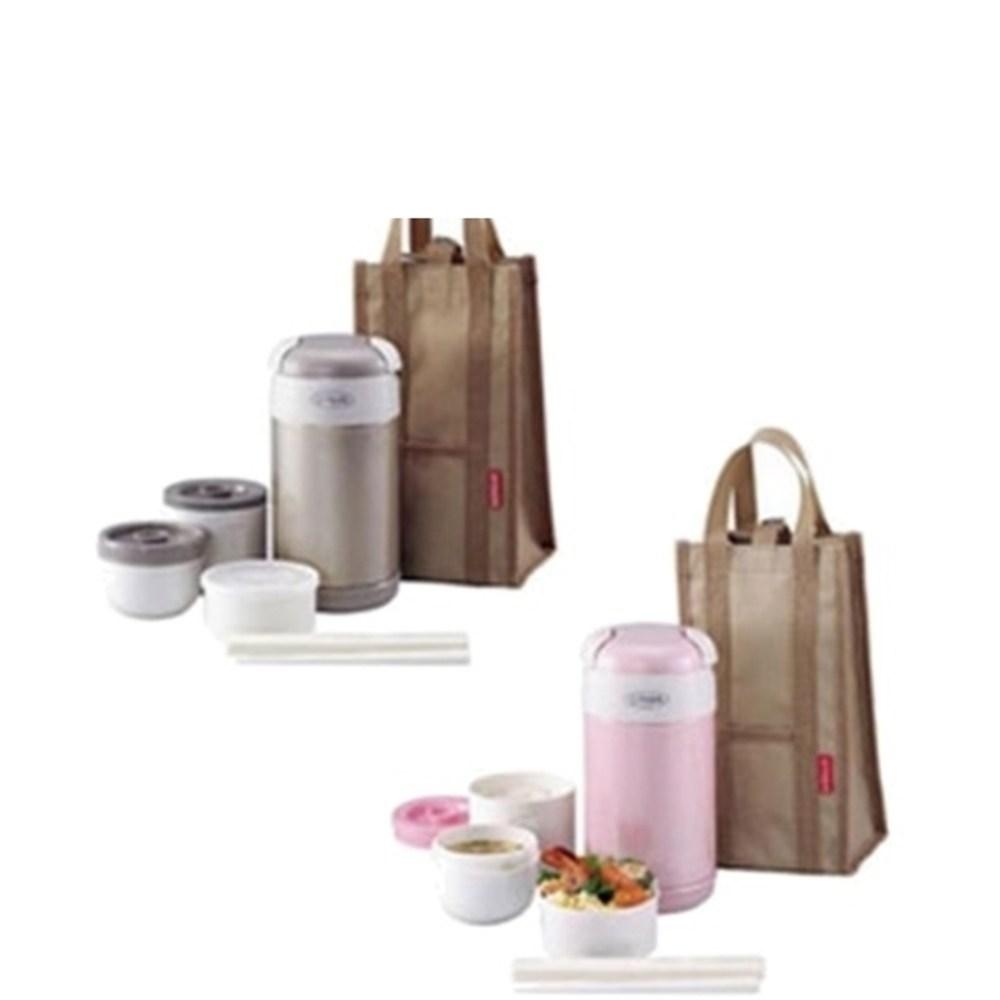 虎牌日本製造附提袋+筷子便當盒PG粉色LWR-A092-PG