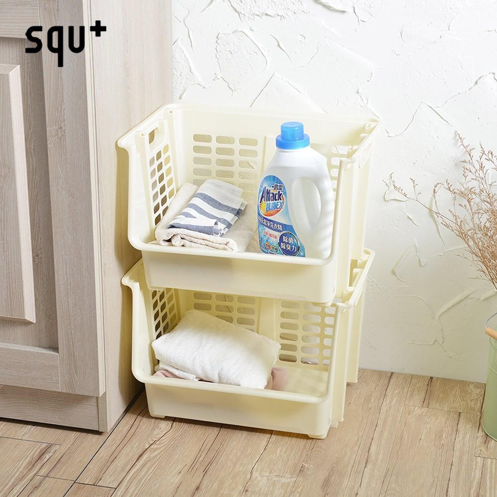 【日本squ+】可疊式前取置物籃(附輪)-2入淡鵝黃