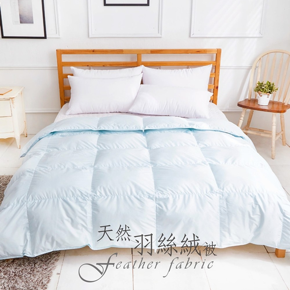 《DUYAN 竹漾》台灣製100% 天然保暖水鳥羽絲絨被-水藍色