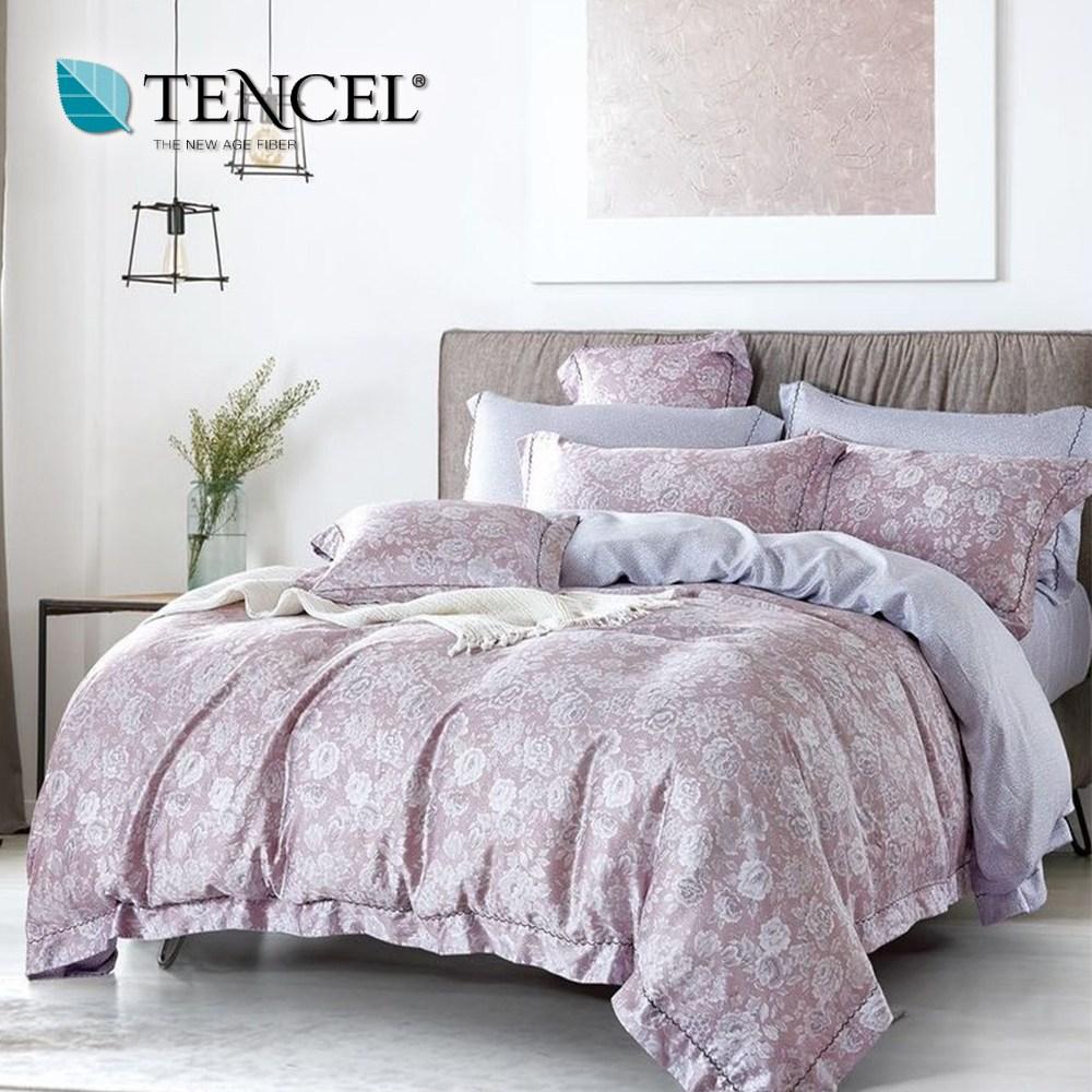 【貝兒居家寢飾生活館】頂級100%天絲床罩鋪棉兩用被七件組(雙人/山林客粉)