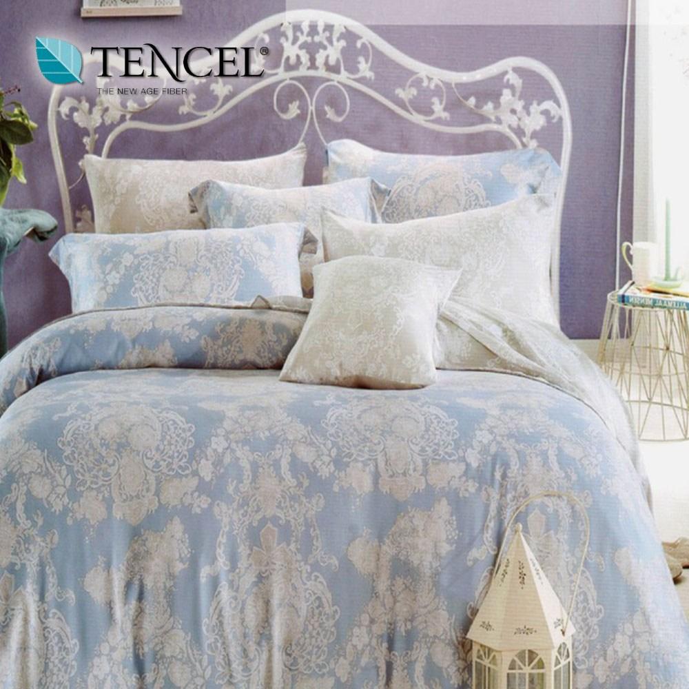 【貝兒居家寢飾生活館】頂級100%天絲床罩鋪棉兩用被七件組(雙人/語曦)