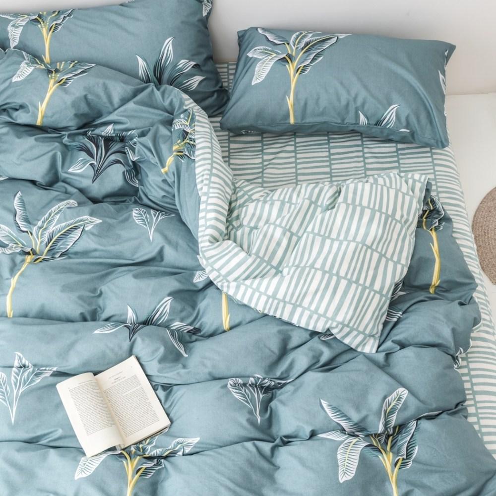 【eyah】台灣製200織精梳棉單人床包雙人被套三件組-綠草如茵山坡
