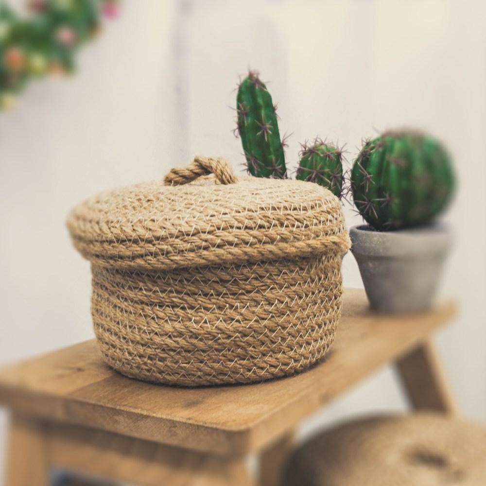 【收納職人】日式黃麻編織圓形加蓋收納籃-小
