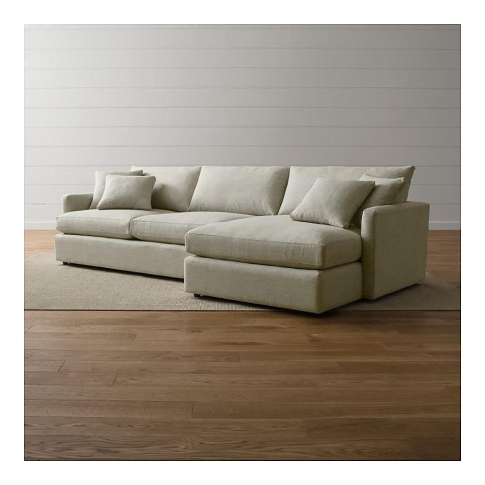 (組)Crate&Barrel Lounge II 右L型2件式沙發 泥灰色
