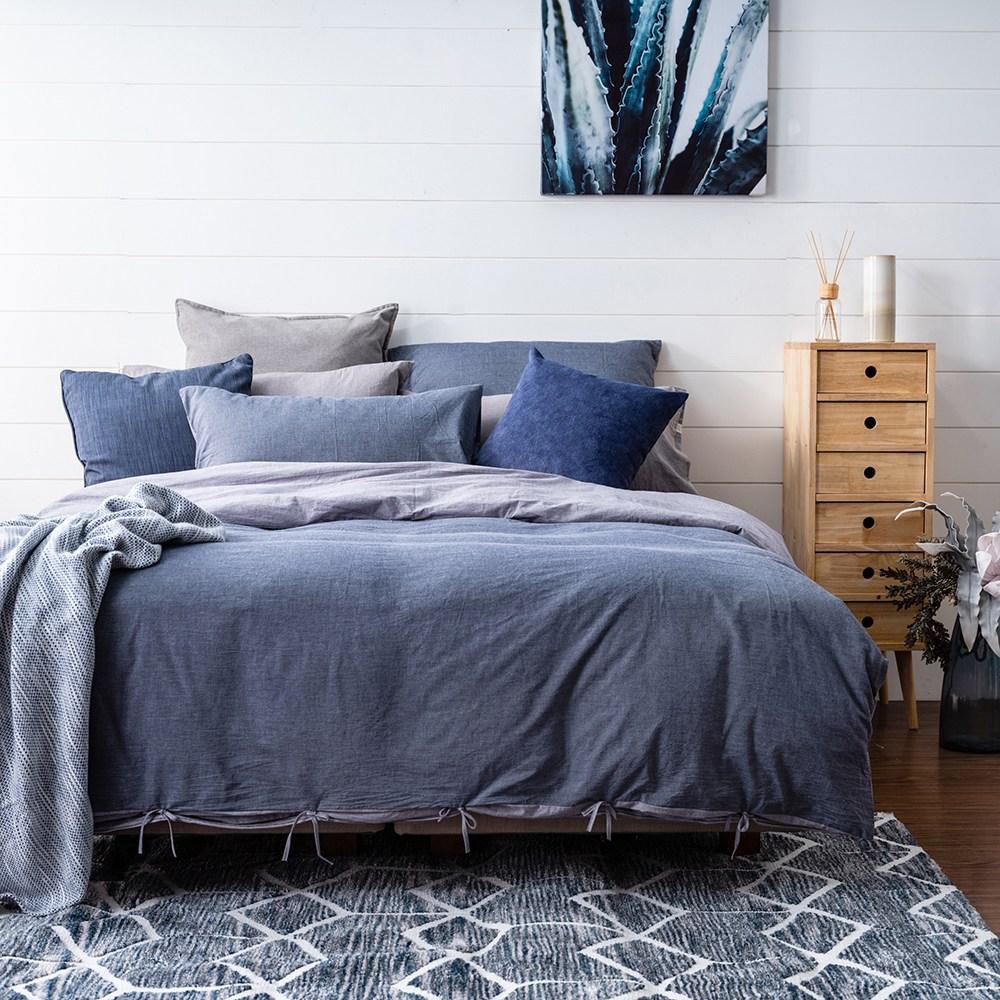 Hoi!台灣製水洗棉床包被套枕套-雙人四件組-丹寧藍