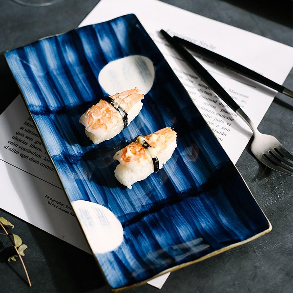 藍黛陶瓷11.7吋長方盤-圓點