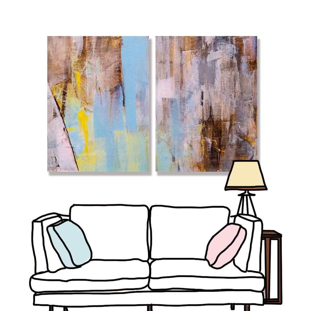 【24mama 掛畫】二聯式 油畫布 無框畫 30x40cm-彩色油畫無時鐘