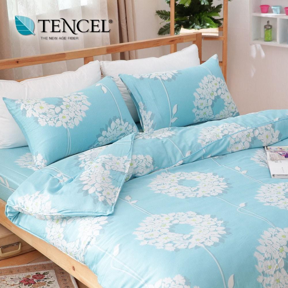 【貝兒居家寢飾生活館】100%萊賽爾天絲兩用被床包組(特大雙人/花蔓舞藍)