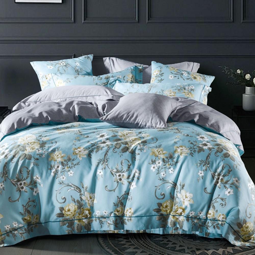 【eyah 宜雅】頂級60S新疆絲光棉雙人床包枕套3件組-多款任選冰島藍湖之花