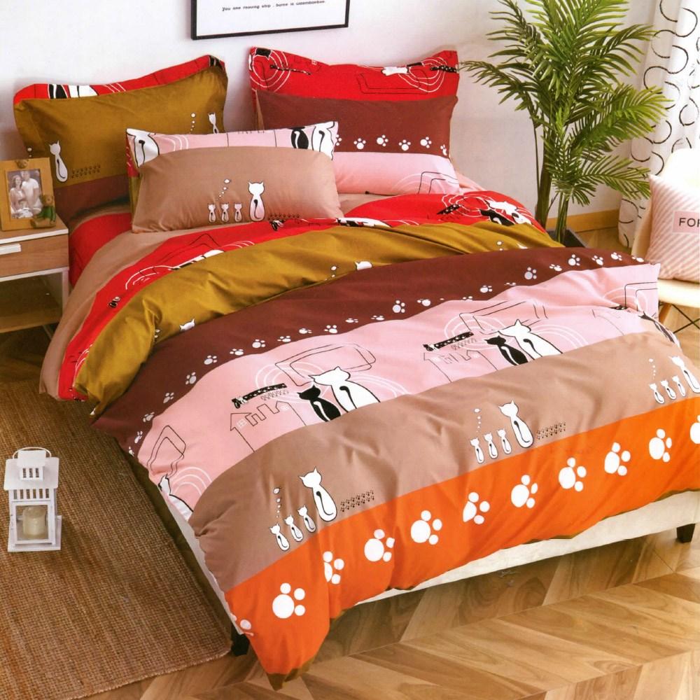 【eyah 】台灣製時尚品味超細雲絲絨雙人床包涼被組-情侶貓咪