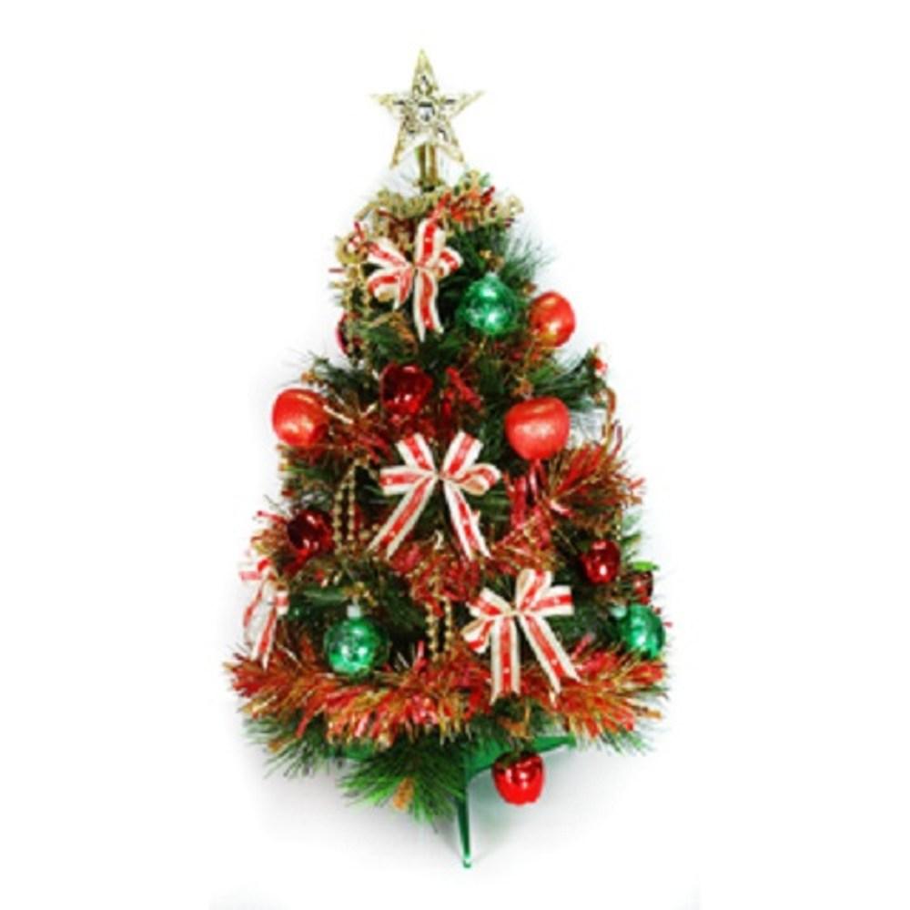 【摩達客】台灣製2尺特級綠色松針葉聖誕樹(紅金色系飾品組(不含燈)本島免運