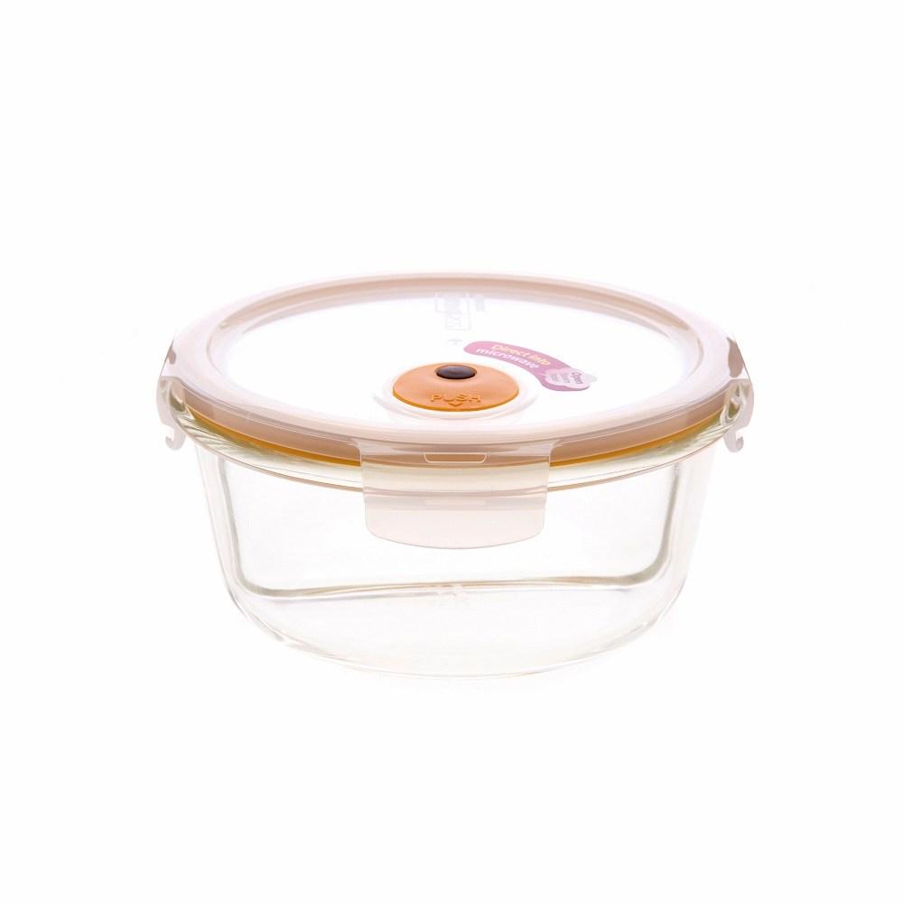 樂扣樂扣輕鬆熱分隔耐熱玻璃保鮮盒/圓形/900ml