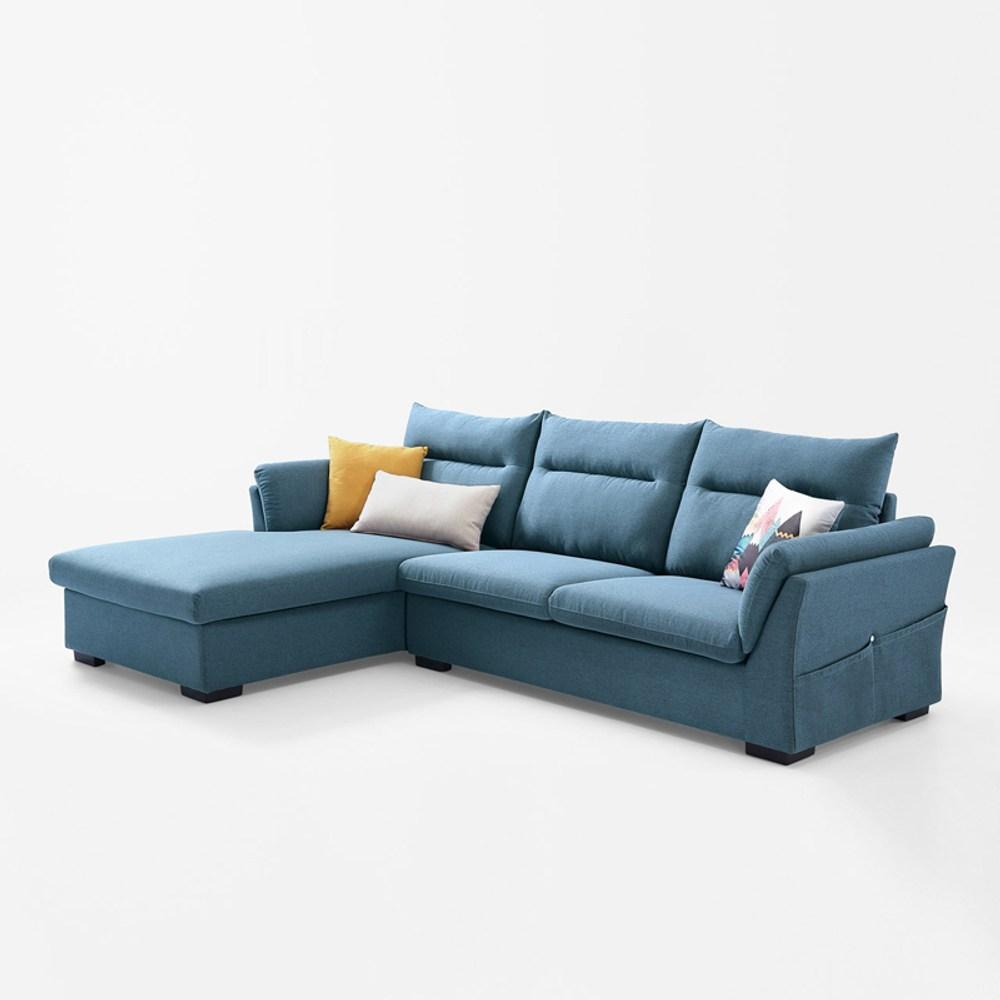 林氏木業簡約現代側邊儲物右L三人布沙發(附抱枕)S016-孔雀藍