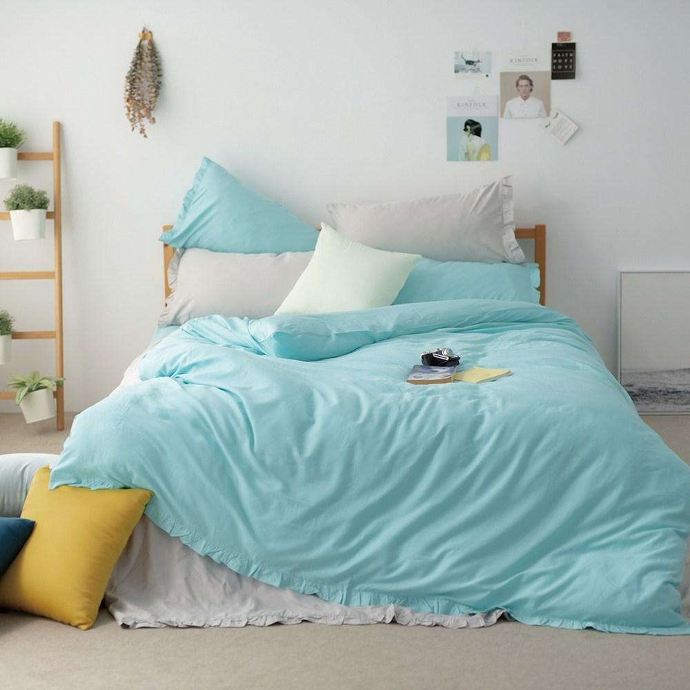 100%天絲床包被套三件組-單人-淺草綠