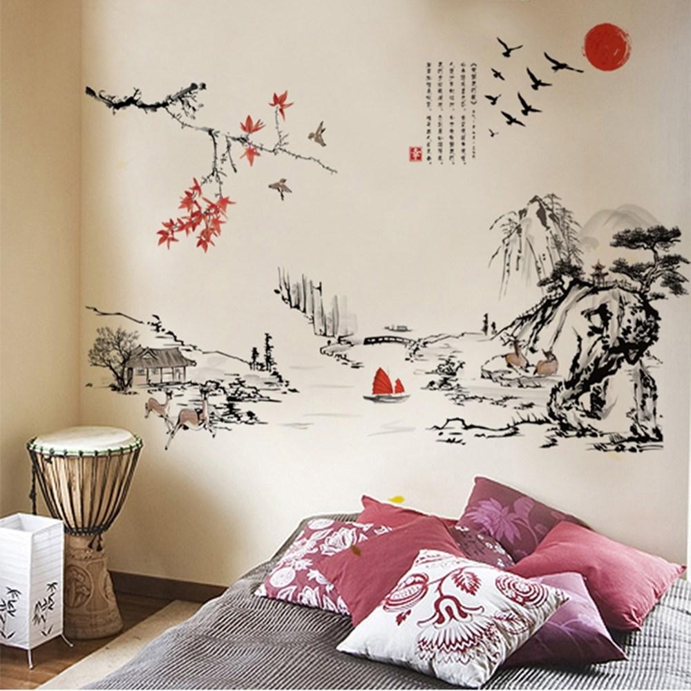 【Loviisa 山水水墨畫】無痕壁貼 壁紙