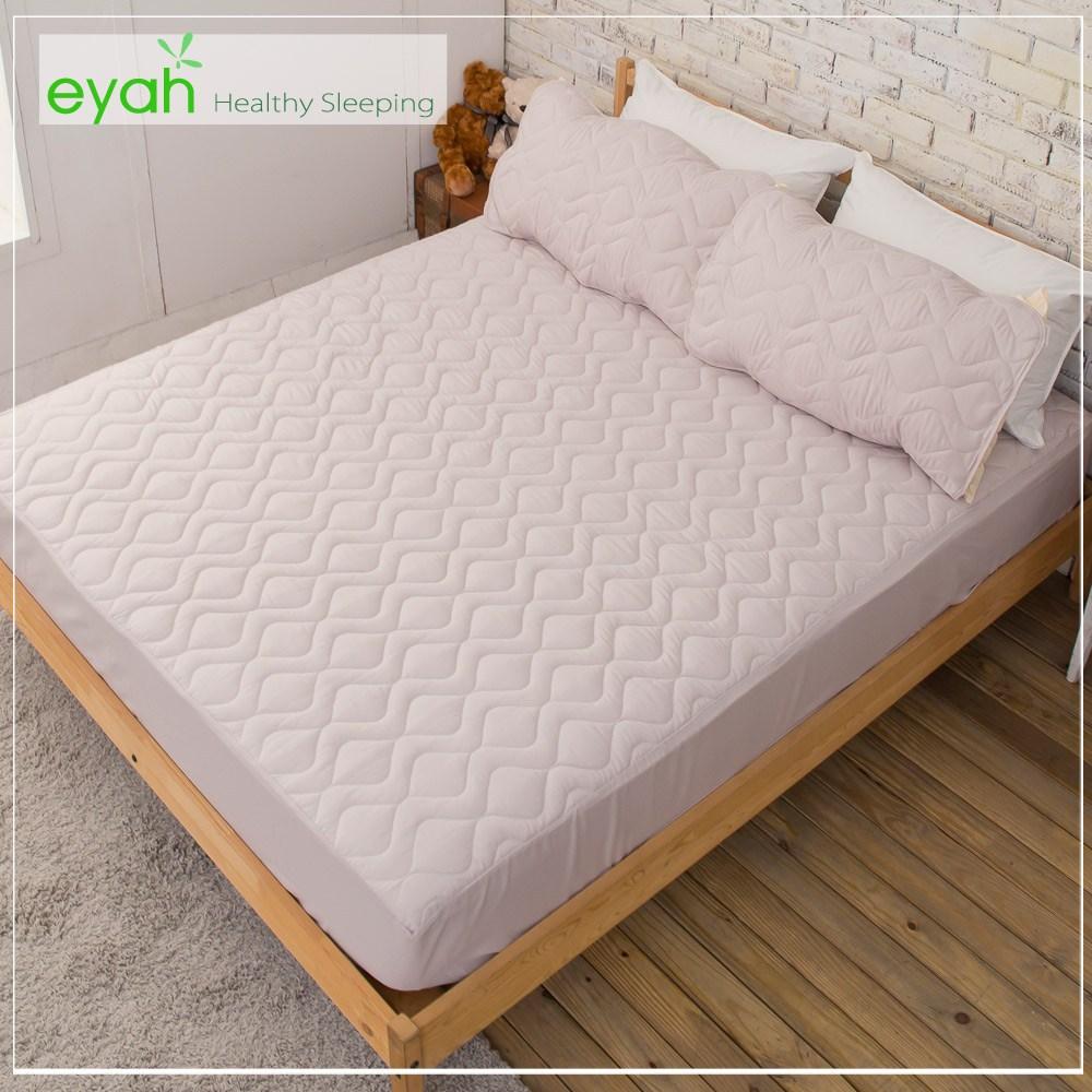 【eyah】台灣製純色加厚舖棉保潔墊床包式雙人加大-紳士灰