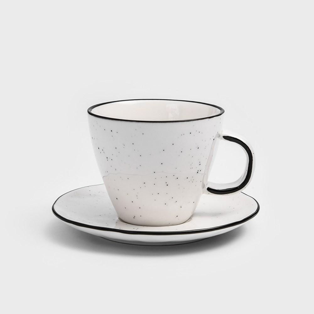 WAGA 日式 墨灑釉燒250ml陶瓷杯碟組