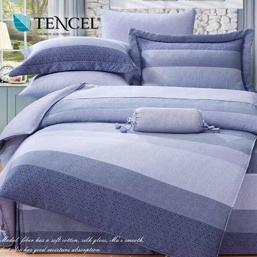 【貝兒居家寢飾生活館】100%天絲全鋪棉床包兩用被四件組(雙人/麻趣布洛藍)