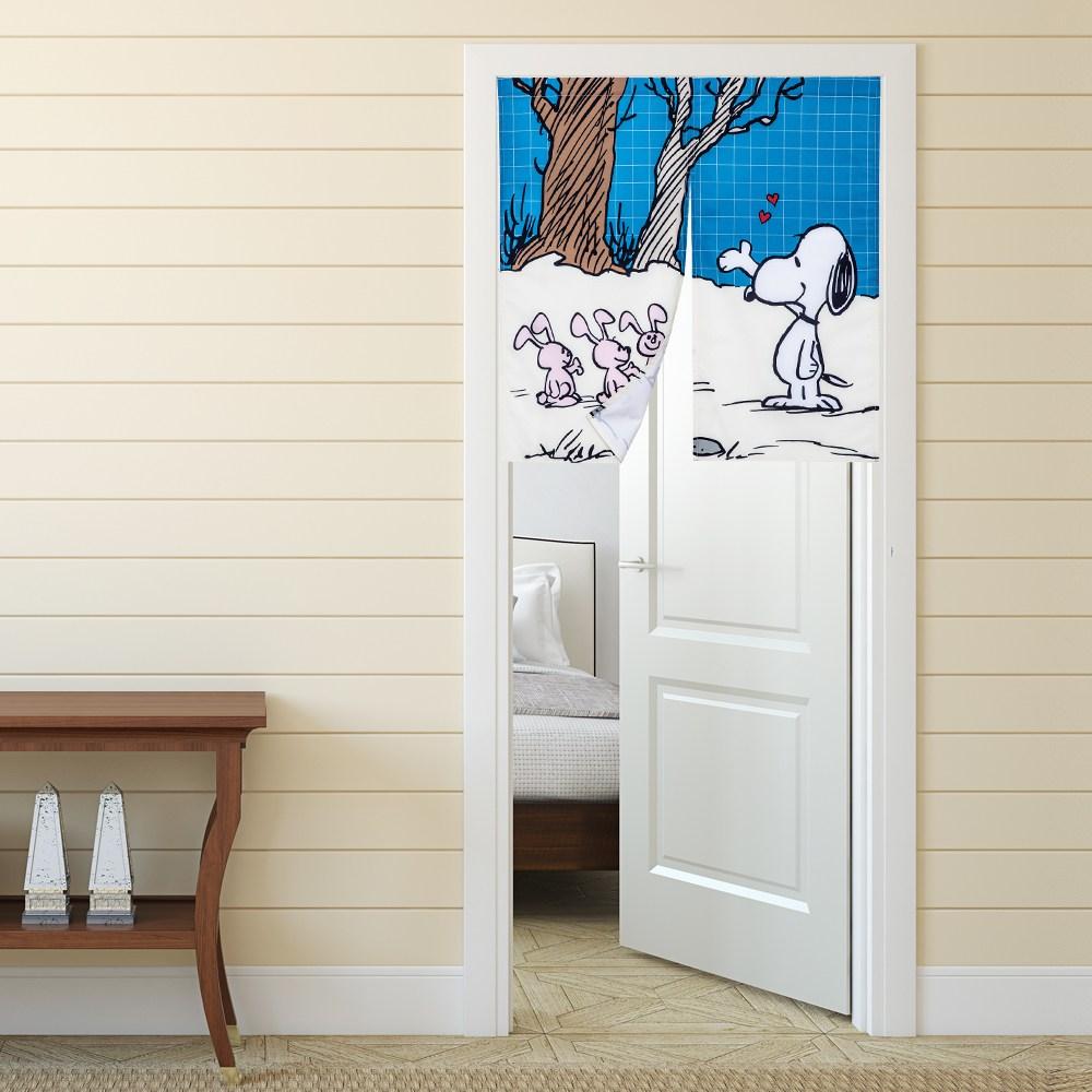 HOLA 史努比 Snoopy 系列 防潑水短門簾 寬90x高90cm 史奴比圖樣款