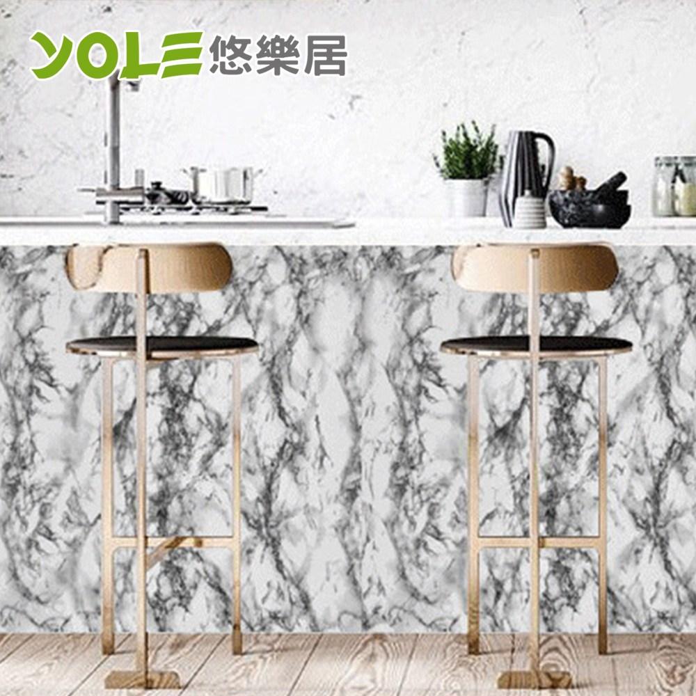 【YOLE悠樂居】廚房自黏耐高溫防汙防油加厚壁貼-石紋(騎士白)