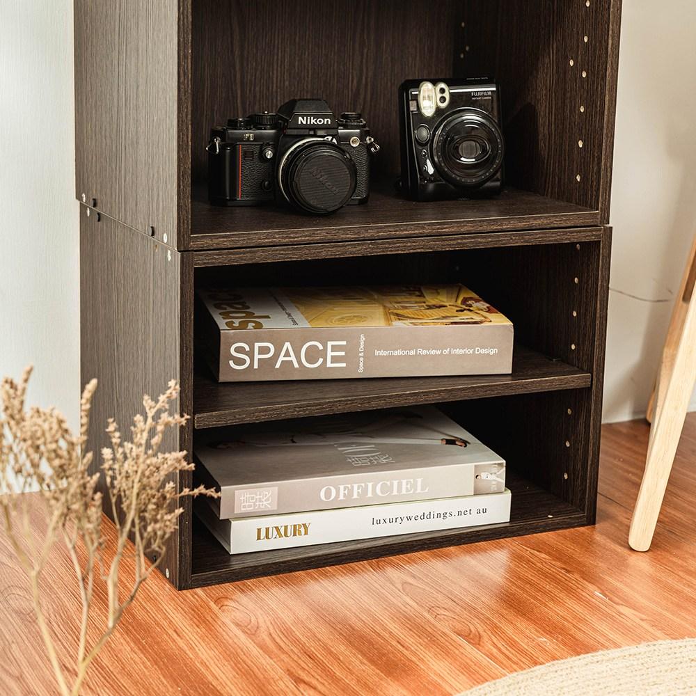 樂嫚妮 二層收納空櫃 書櫃 置物櫃-深胡桃木色