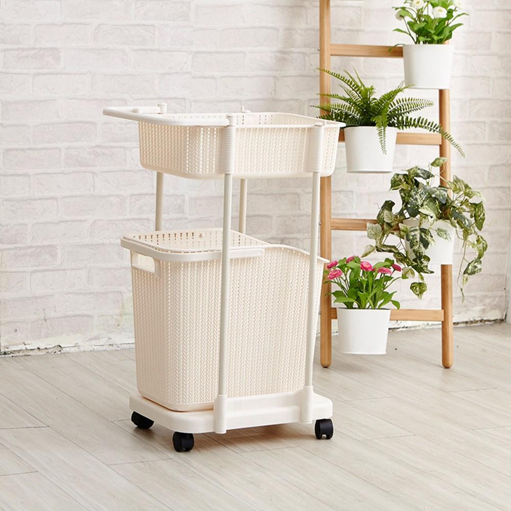 【H&R安室家】日系雙層可移式分類洗衣籃-BNF65
