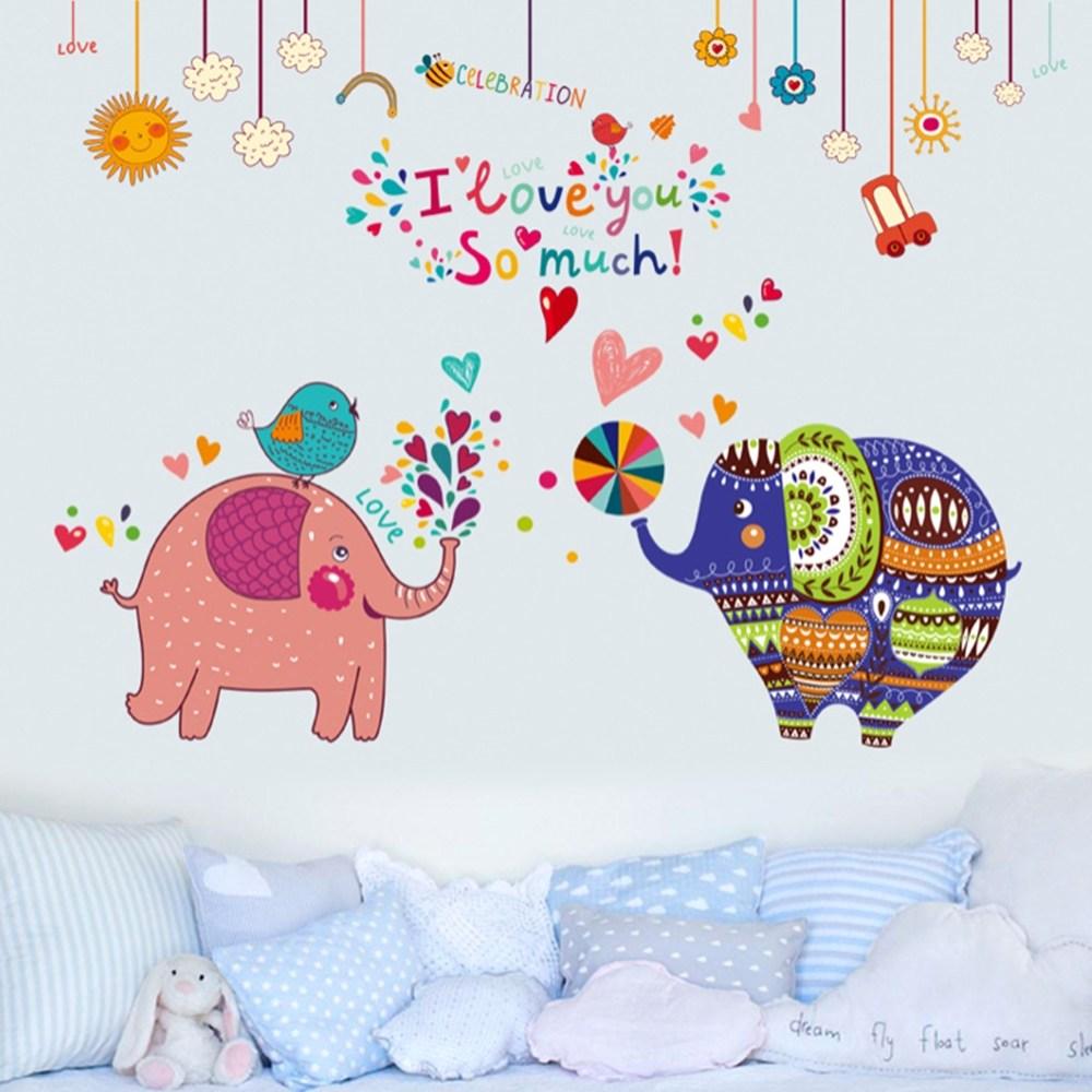 【Loviisa 印度大象】無痕壁貼 壁紙