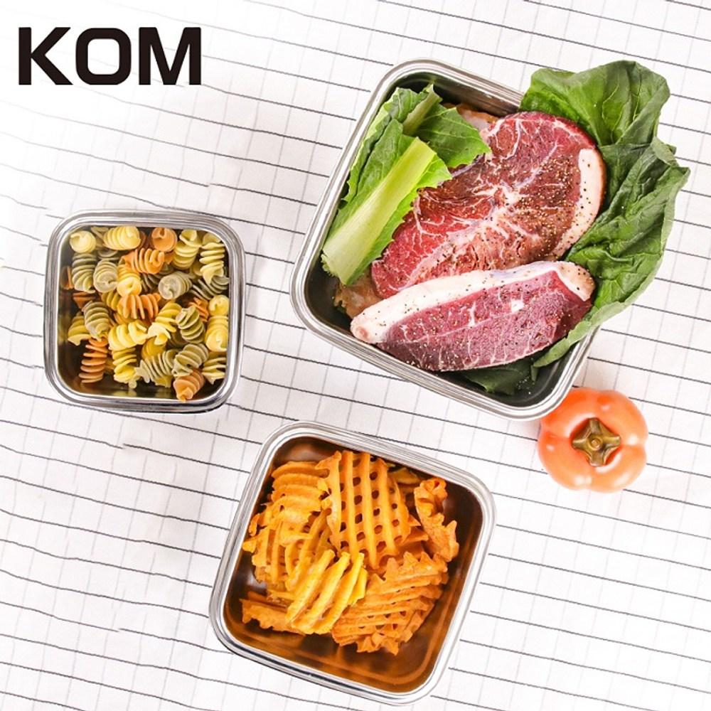 KOM 日式萬用不鏽鋼保鮮盒-方型三件組