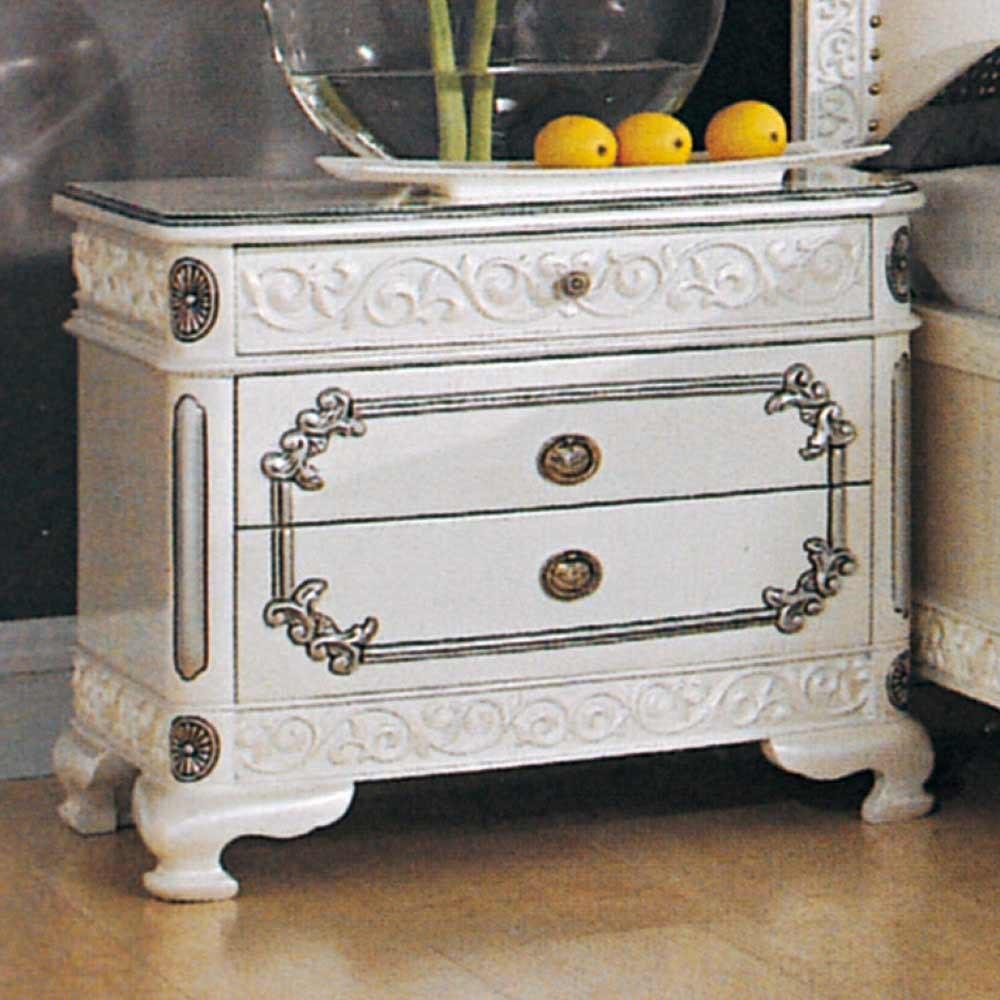 仙雅娜法式象牙白銀邊床頭櫃