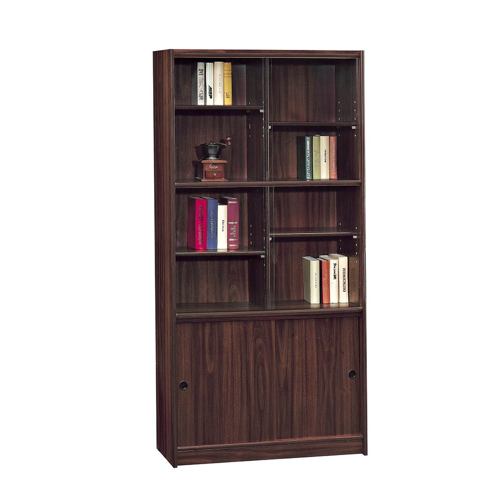 胡桃3*6尺玻門書櫃