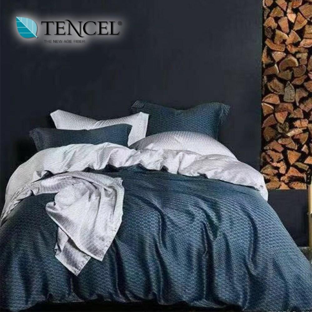 【貝兒居家寢飾】100%萊賽爾天絲兩用被床包組(加大/一彎心跡)