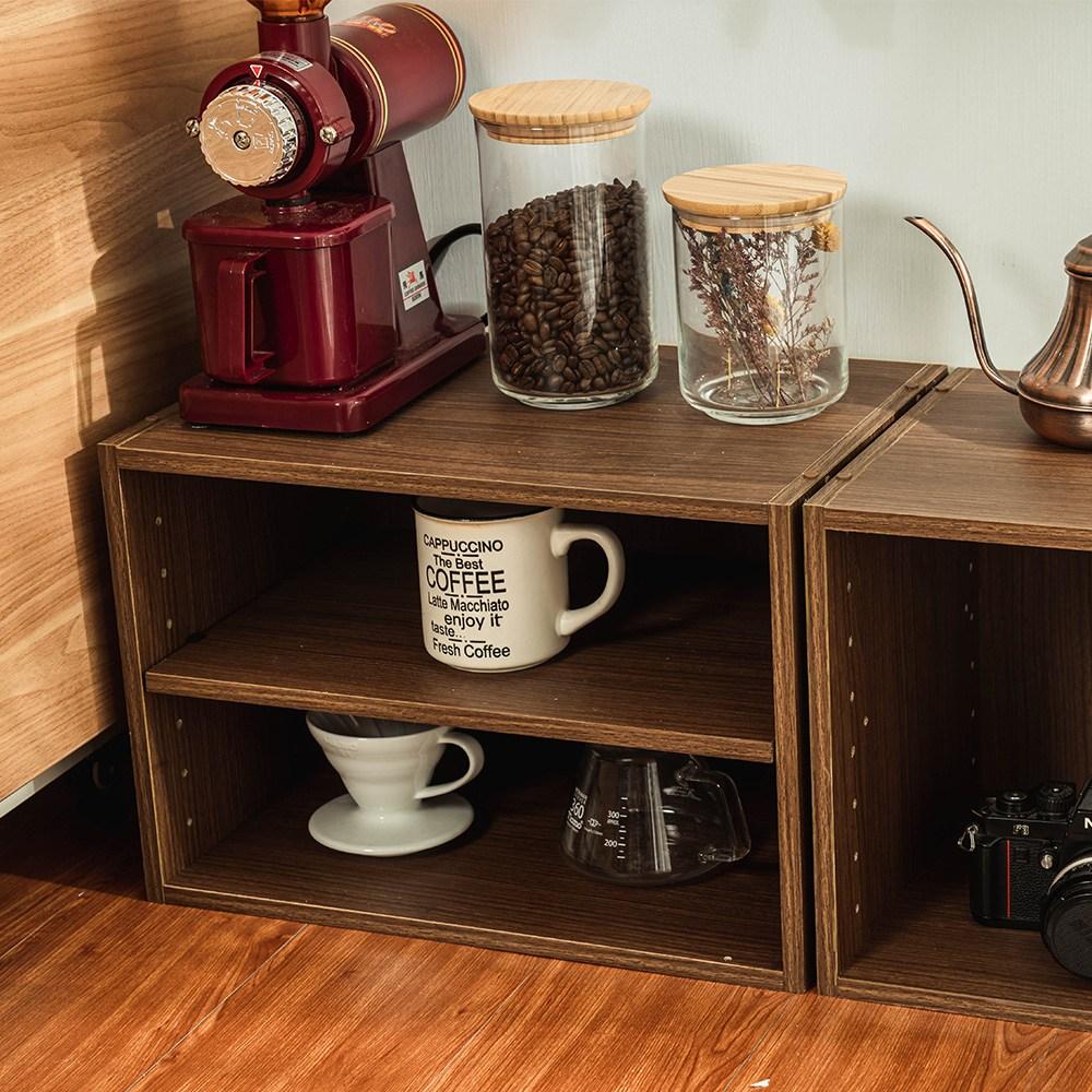 樂嫚妮 二層收納空櫃 書櫃 置物櫃-淺胡桃木色