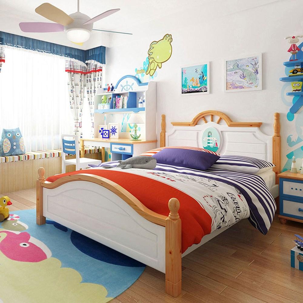 林氏木業地中海系列實木雙人5尺兒童床組 DF1A