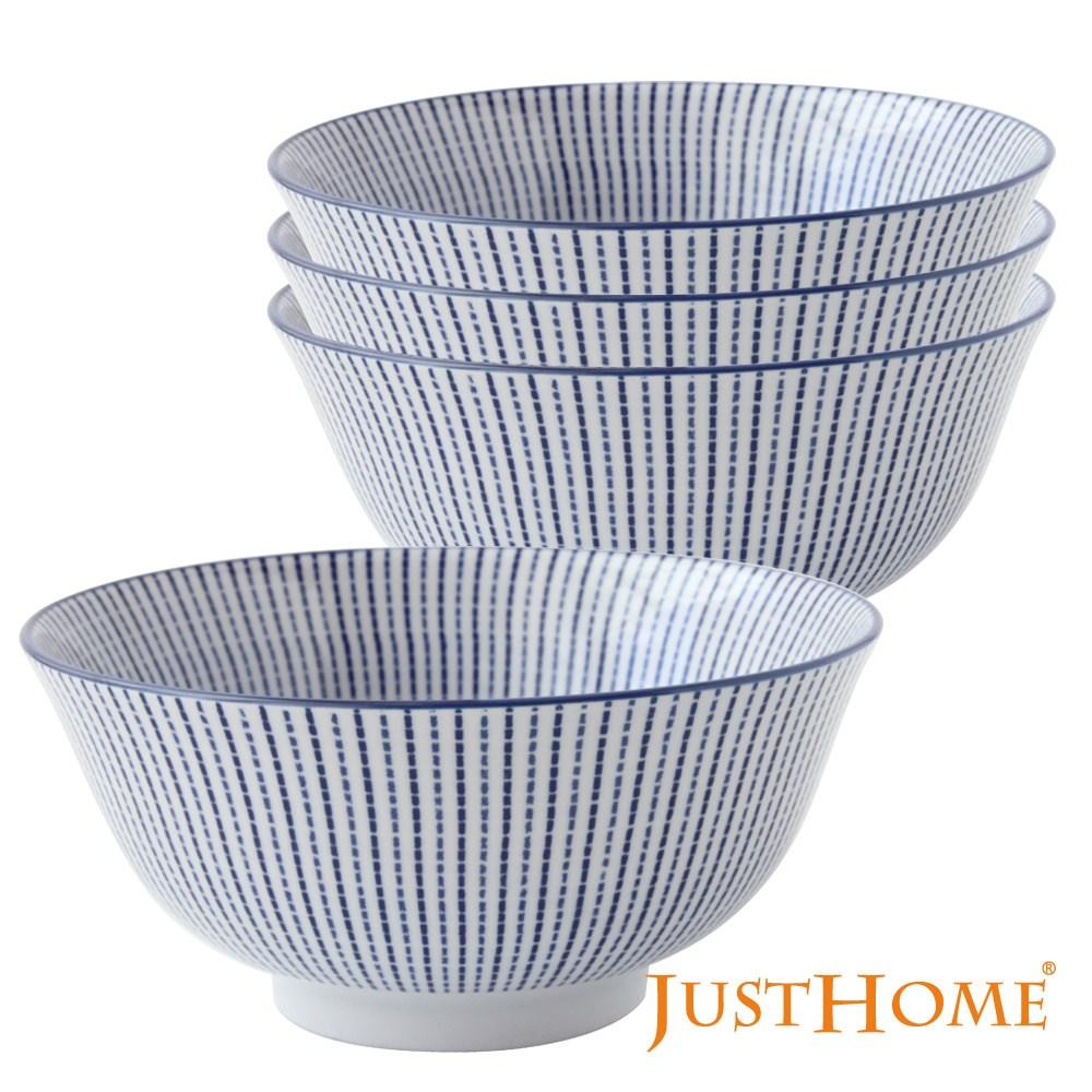 Just Home日式藍十草陶瓷6吋麵碗/湯碗/多用井/湯缽(4件組)