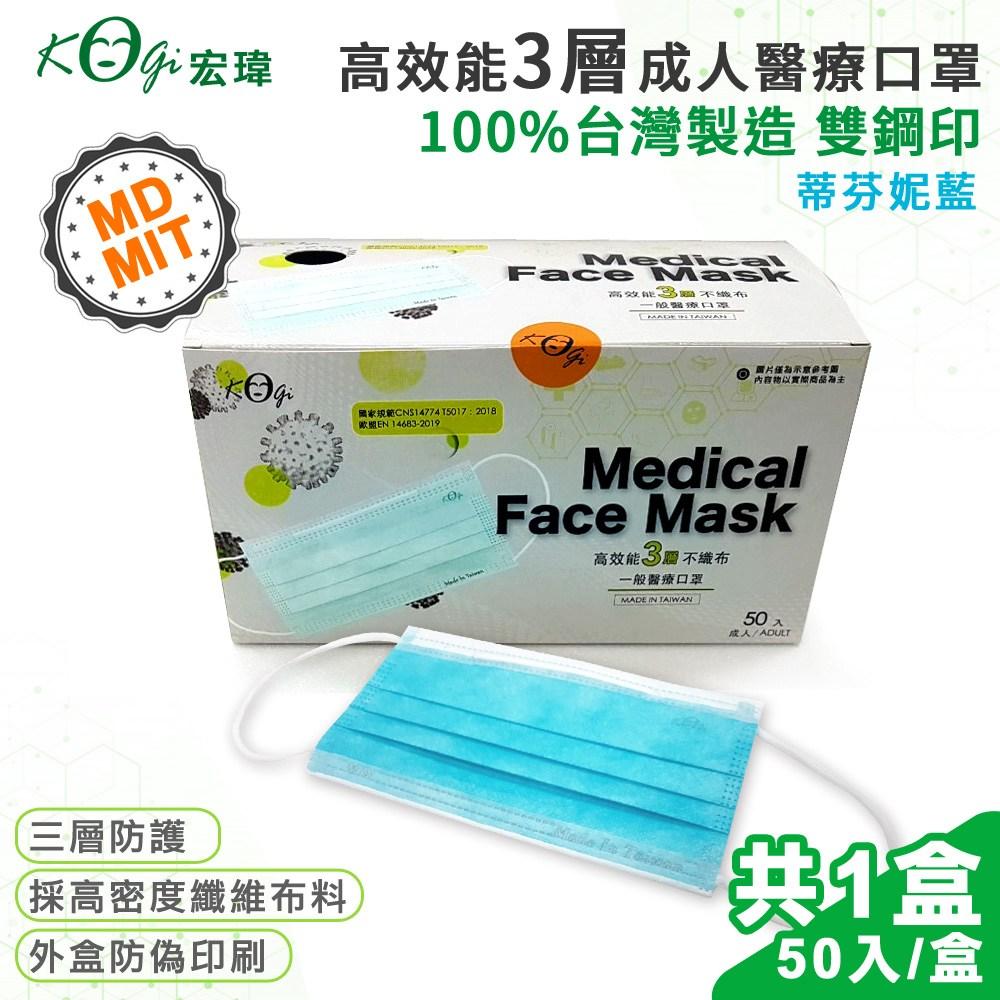 宏瑋 台灣製 MD+MIT 雙鋼 醫用 醫療級口罩 50入-蒂芬妮藍