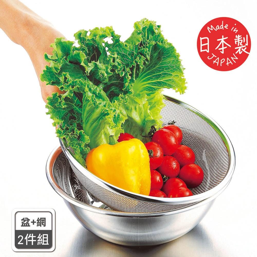 【遠藤商事】日本製不鏽鋼深型備料調理碗+新越works高耐重深型過濾網