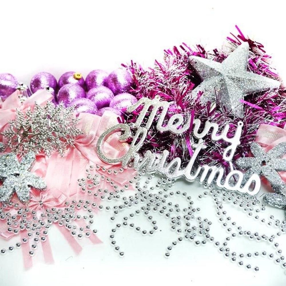 摩達客 聖誕裝飾配件包組合~銀紫色系 (6尺(180cm)樹適用)
