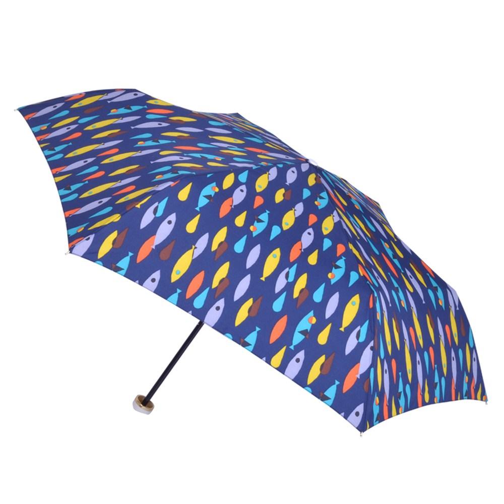 2mm 繽紛魚點 晴雨兩用輕量手開傘_藍色