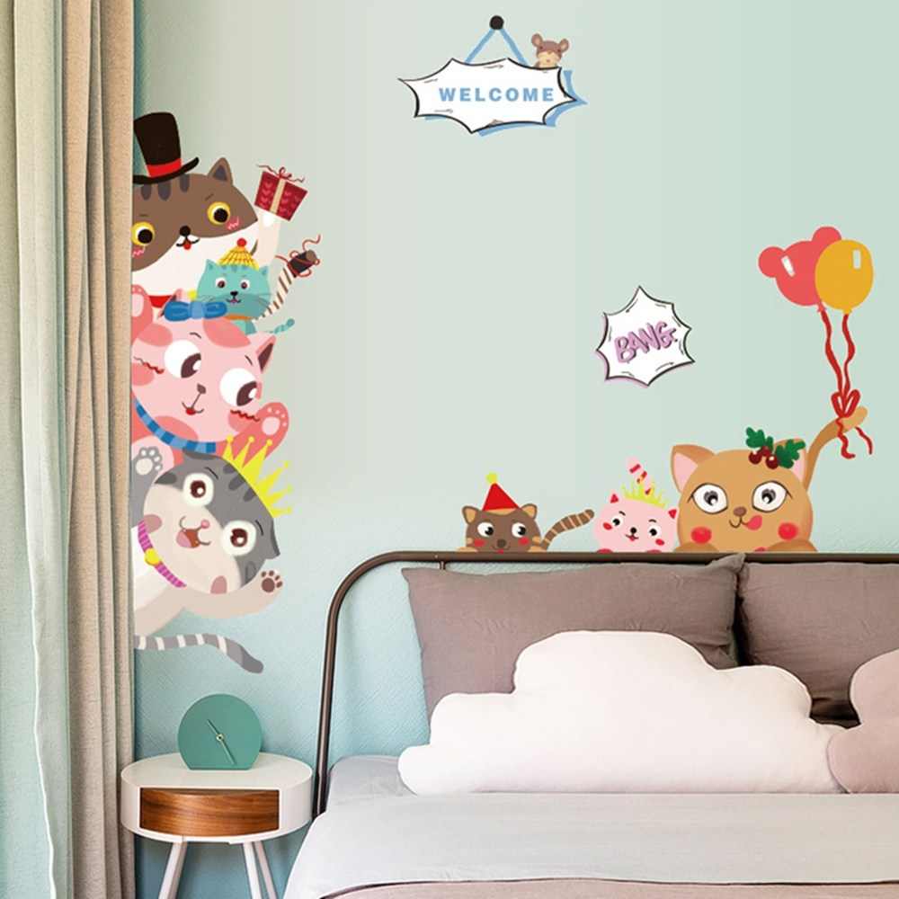【Loviisa 歡樂貓咪】無痕壁貼 壁紙
